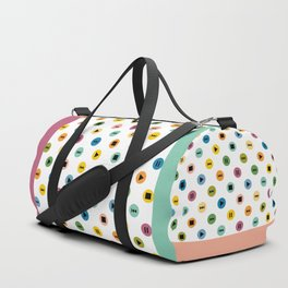 Music Player Icons Polka Dots (Multicolor on White) Duffle Bag