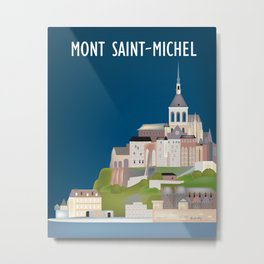 Mont Saint-Michel, Normandy, France - Skyline Illustration by Loose Petals Metal Print