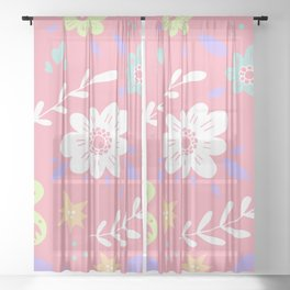 Pink Pattern with Flowers and butterflies Sheer Curtain