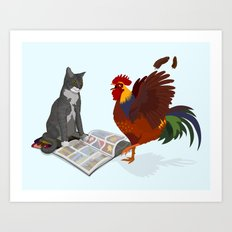 Cats, Comics, Cocks Art Print