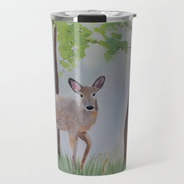 Deer in the Forest Watercolor Painting Travel Mug