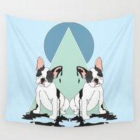 pugs Wall Tapestries featuring Pugs (Blue) by Anna McKay