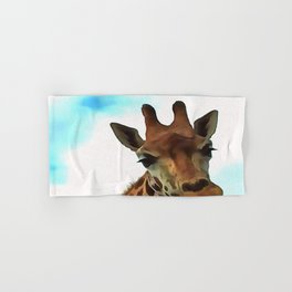 Hello up there! Fun Giraffe With Nerdy Expression Hand & Bath Towel