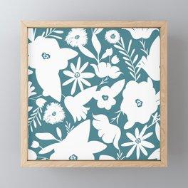 Finley Floral Teal Framed Mini Art Print
