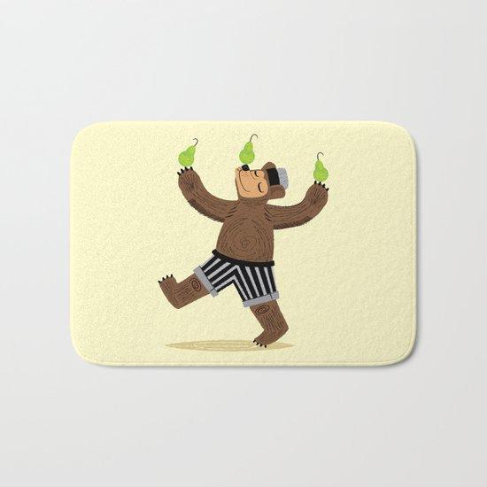 A Bear With Pears Bath Mat