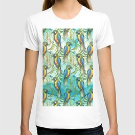 Watercolor blue yellow tropical parrot bird floral T-shirt