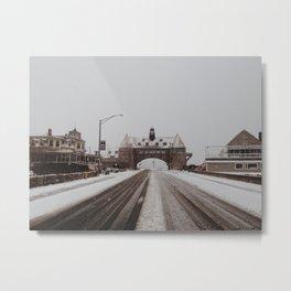 Snowy Narragansett Towers Metal Print