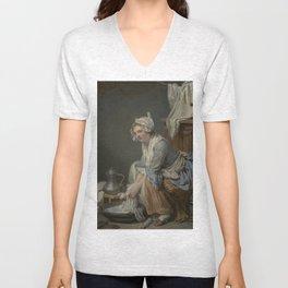 The Laundress by Jean-Baptiste Greuze Unisex V-Neck