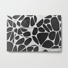 White on black, organic abstraction Metal Print