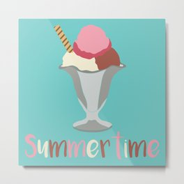 Cute Pastel Summertime Ice Cream Sundae Design Metal Print
