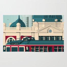 MELBOURNE AUSTRALIA Retro Travel Poster City Illustration Rug