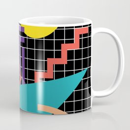 Memphis Pattern - 80s Retro Black Coffee Mug