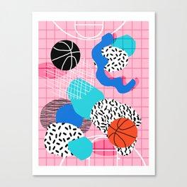 Hot Hand - memphis retro throwback neon grid pattern minimal modern pop art basketball sports Canvas Print