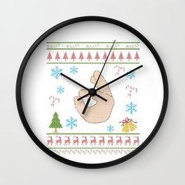 Ok Hand Sign Emoticon Icon Happy Christmas Ugly Shirt Wall Clock