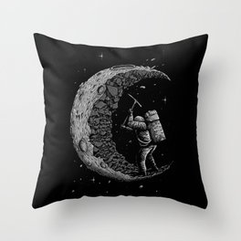 Moon Miner Throw Pillow