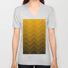 Gradient Golden Yellow Zig-Zags Unisex V-Neck