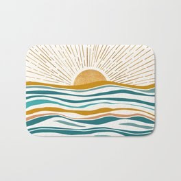 The Sun and The Sea - Gold and Teal Bath Mat