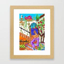 Summertime pomegranates Framed Art Print