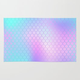Turquoise Pink Mermaid Tail Abstraction Rug