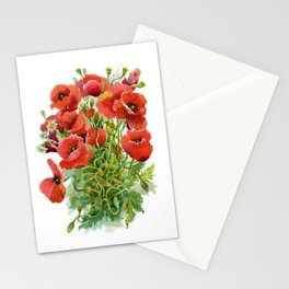 Watercolor Poppies Stationery Cards