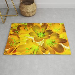closeup yellow flower with green pollen background Rug
