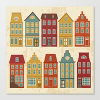 amsterdam Canvas Prints featuring Amsterdam by olillia