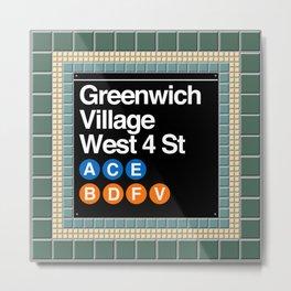 subway greenwich village sign Metal Print