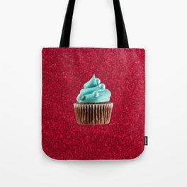 Cupcake Love | Aqua Swirl on Red Sparkle Tote Bag