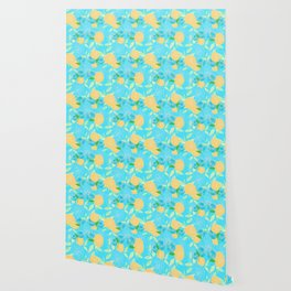 06 Yellow Blooms on Blue Wallpaper