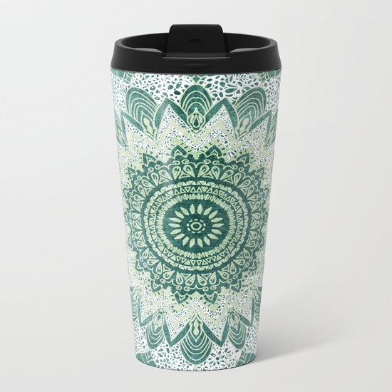 BOHOCHIC MANDALA IN MINT Metal Travel Mug