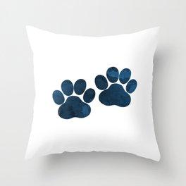 Dog Paw Prints Throw Pillow