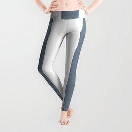 Slate gray - solid color - white vertical lines pattern Leggings