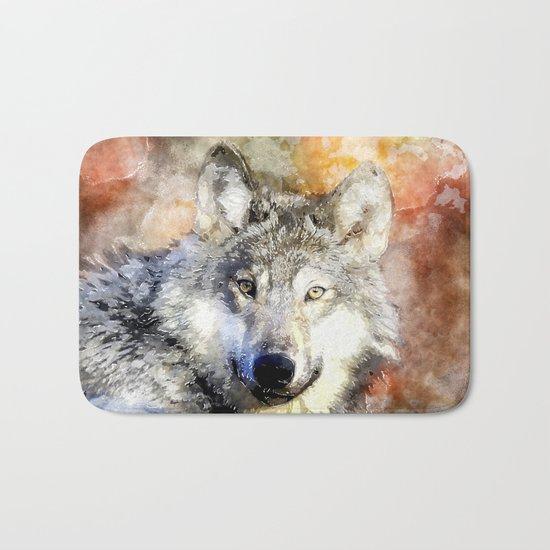 Wolf Animal Wild Nature-watercolor Illustration Bath Mat
