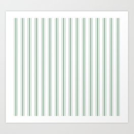 Mattress Ticking Wide Striped Pattern in Moss Green and White Art Print