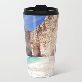 Corfu. Greece. Wild beach among the rocks. Travel Mug