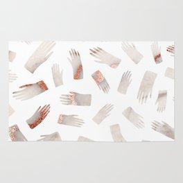Make Light Work || - Rose Gold Marble Hands Print Rug