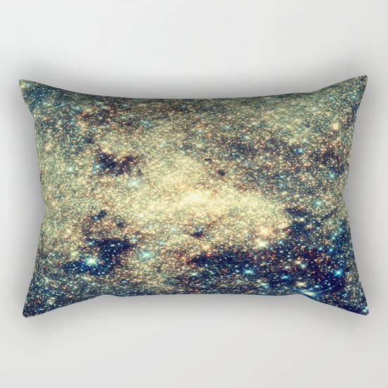 Galaxy Gold & Blue Stars Rectangular Pillow