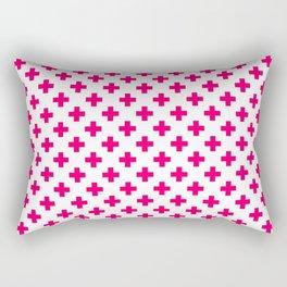 Hot Neon Pink Crosses on White Rectangular Pillow