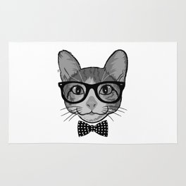 Cat Hipster With Polka Dots Bow Tie - Black White Rug