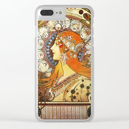 Alphonse Mucha La Plume Zodiac Clear iPhone Case