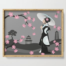 Japanese Geisha under Cherry Blossoms Serving Tray