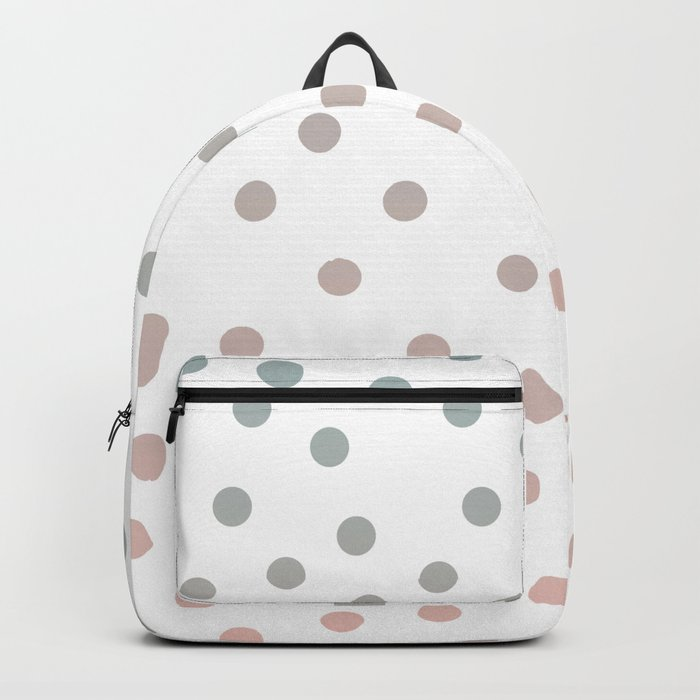 Simply Dots in Coral Peach Sea Green Gradient on White Backpack