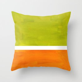 Retro Lime Green Minimalist Abstract Color Block Rothko Midcentury Modern Art Throw Pillow