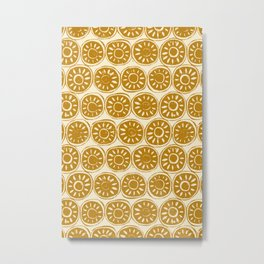 flower block gold ivory Metal Print