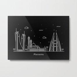 Manama Minimal Nightscape / Skyline Drawing Metal Print