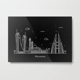 Manama Minimal Nightscape / Skyline Drawing Metal Print