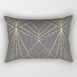 Art Deco in Gold & Grey - Large Scale Rectangular Pillow