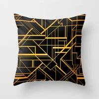 the great gatsby Throw Pillows featuring Great Gatsby Style Pattern by Varvara Gorbash