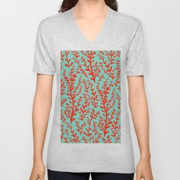 Mint Green and Red Floral Leaves Gouache Pattern Unisex V-Neck