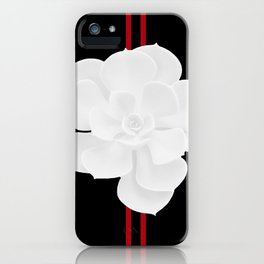 White Succulent On Black #decor #society6 #buyart iPhone Case